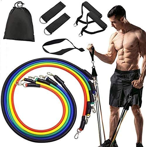 Resistance Bands Set Exercise Bands Home Workouts Include 5 Stackable Exercise Bands with Handles,...