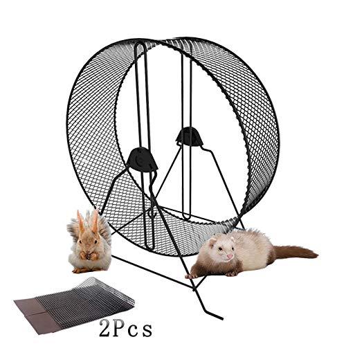 Rueda de ejercicio silenciosa para hámster con gerbola Chinchilla ardilla, conejo, ratas, chinchillas, gerbolas, ratones, tamaño estándar, 32 cm de diámetro, animales de tamaño mediano y grande