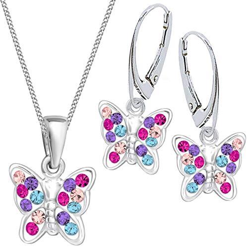 Mädchen Kinder Kristall Schmetterling Brisur Ohrringe + Anhänger + 40cm Kette 925 Silber Set (Multicolor)