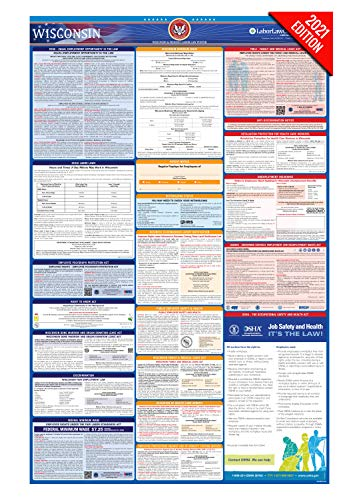 WI Labor Law Poster, 2021 Edition - State, Federal and OSHA Compliant Laminated Poster (Wisconsin, English)