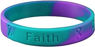 Teal & Purple Ribbon Silicone Bracelets - 25 Bracelets