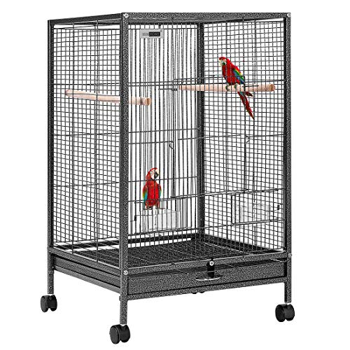 VIVOHOME 30 Inch Height Wrought Iron Bird Cage with Rolling Stand for Parrots Conure Lovebird...