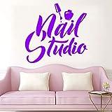 decalcomanie da muro per salone di bellezza adesivo da parete per smalto per nail studio logo adesivi in vinile manicure pedicure wallpaper decal 43x45cm