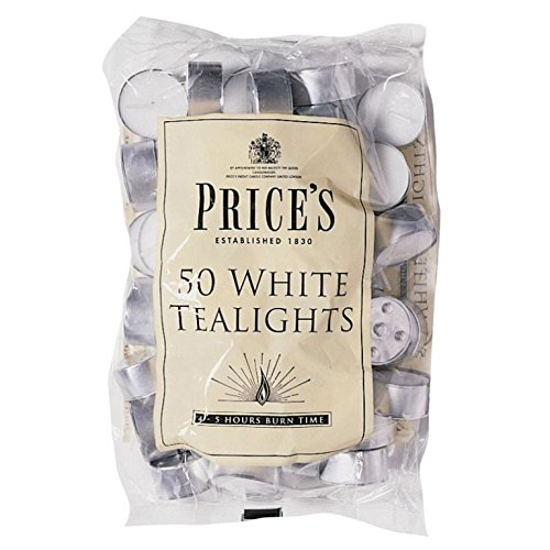 Prices Patent Candles 3 X Pack of 50 White Tealights Bag