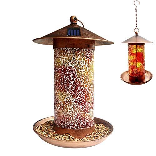 MIXXIDEA Solar Bird Feeder for Outside Mosaic Copper Hanging Bird Feeder Solar Powered Garden Lantern Bird House with Hook for Wild Birds,Waterproof Bird Feeder Garden Bird Gifts