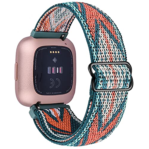 VISOOM Stretchy Band Compatible with Fitbit Versa 2 Bands / Versa Band Adjustable Versa Lite Special Edition Nylon Strap Wristband Smartwatch Accessories Elastics Sports Replacement for Women Men