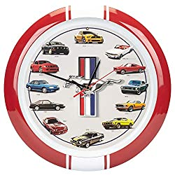 Mark Feldstein & Associates History of Mustang Sound Wall Clock, 13 Inch Red