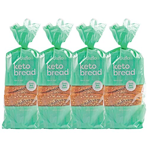 Kiss My Keto Bread Seeded Wheat — Zero Carb Bread (0g Net), 6g Protein / Slice | Sugar Free, Low Carb Bread | Low Calorie, No GMOs, Soy Free & 100% Carb Free (4 Packs)