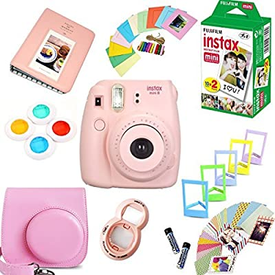 Fujifilm Instax Mini 8 Film Camera (Pink) + Instax Mini Film (20 Shots) + Protective Camera Case + Selfie Lens + Filters + Frames Photix Decorative Design Kit by FUJIFILM