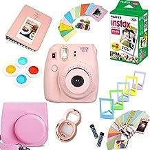 Fujifilm Instax Mini 8 Film Camera (Pink) + Instax Mini Film (20 Shots) + Protective Camera Case + Selfie Lens + Filters + Frames Photix Decorative Design Kit
