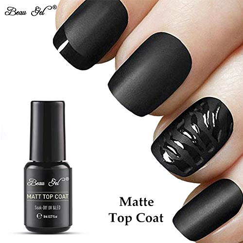 Esmalte de Uñas Semipermanentes Top Mate Coat Pintauñas Manicura Semipermanente UV LED Soak Off 1pcs 8ml de Beau Gel