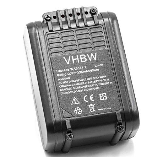 vhbw Batería recargable compatible con Worx WG156, WG157, WG157E, WG157E.9, WG160.1, WG160.2, WG160.3 herramientas eléctricas (3000 mAh Li-Ion 20 V)