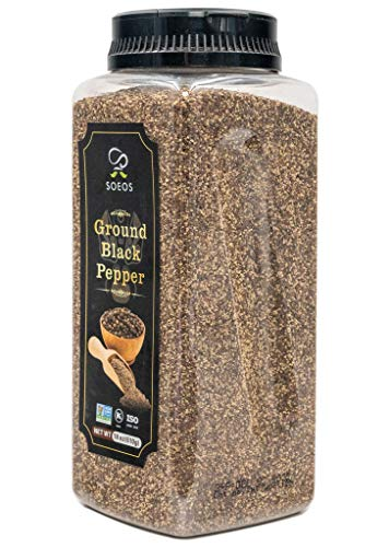 Soeos Table Ground Black Pepper (18oz),Fresh Black Peppercorn Powder, Ground Black Peppercorns, Table Grind Black Pepper, Read to Use Black Pepper, Black Pepper Bulk, 24 Mesh Size.