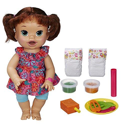 Baby Alive Super Snacks Snackin' Sara Brunette, Dress color may v
