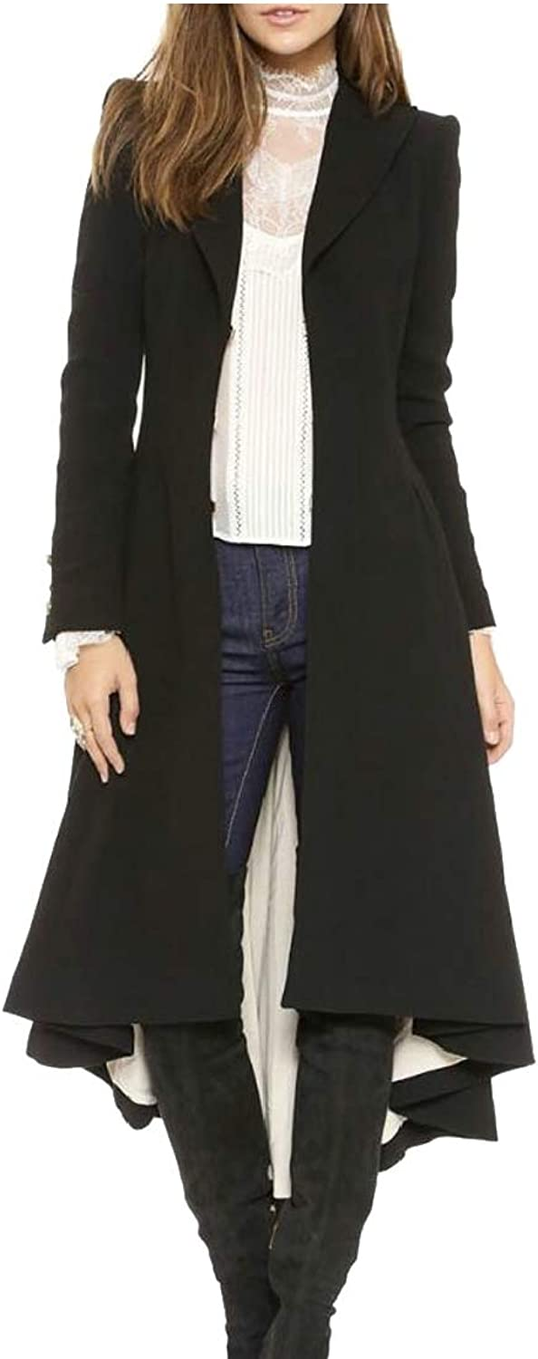 Ouxiuli Women Slim Asymmetrical High Low V Neck Ruffle Button Long Coat