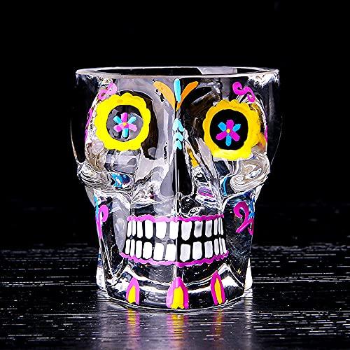 ZNLHJ Vaso de Cristal de Color Mezclado con Calavera Espesa Pintada a...