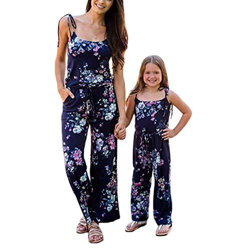 CHRONSTYLE Mutter und Tochter Mädchen Langarm Match Familie Kleid Herbst Jumpsuit Floral Romper Pants Passende Outfits Passende Jumpsuits für die Familie Overall Spielanzug (Tochter, 120(7T-8T))