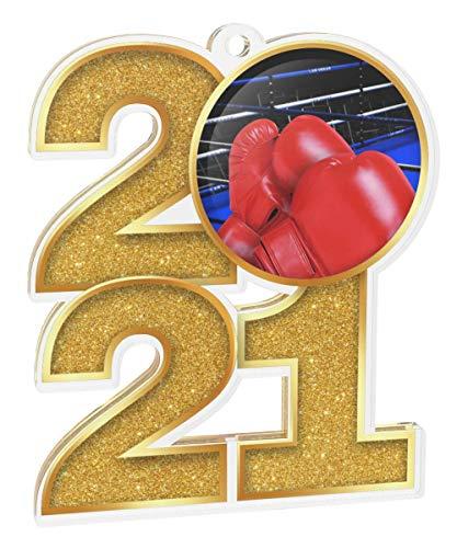 Trophy Monster Paquete de medallas de boxeo 2021 incluye 5 medallas y cintas, clubes, fiestas y empresa, hecho de acrílico impreso, 70 mm (8 tamaños)