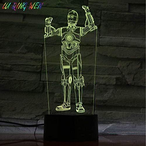 ADIS Lámpara de ilusión 3D Luz de Noche Led Noche Star Wars Robot C 3Po Figura de acción Decoración de Dormitorio Ambiente Cumpleaños Mesita de Noche para niños