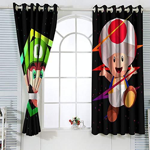 Super Mario Luigi - Cortinas aisladas para decoración del hogar, 42 x 54 cm