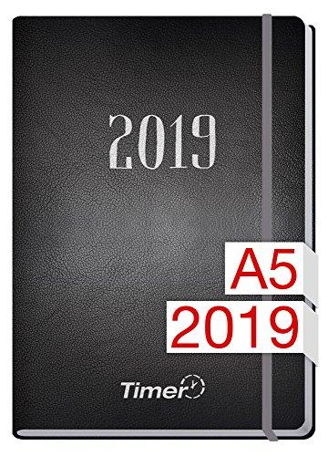 Chäff-Timer Premium A5 Kalender 2019 [Silber] 12 Monate Jan-Dez 2019 - Gummiband, Einstecktasche - Terminkalender mit Wochenplaner - Organizer - Wochenkalender
