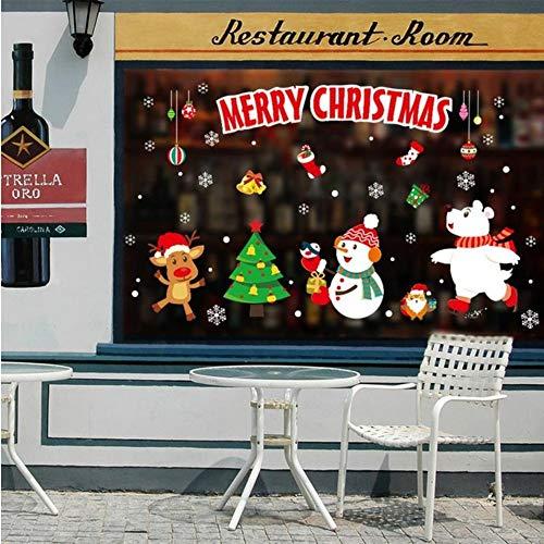 Pmhc decoratiestickers voor thuis, voor Nieuwjaar, festival, Kerstmis, ramen, glas, muurstickers, sneeuwman, krans, Kerstman, 45 x 60 cm