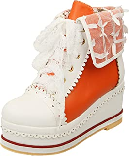 Zanpa Women Sweet Lace Booties Flatform Lace up