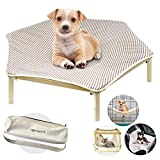 I'm Wooden Elevated Portable Cooling Pet Bed Raised Cot Hammock Washable Cotton Canvas Furniture with Travel Bag (Brown)