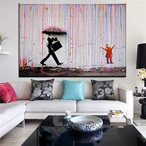 Banksy Graffiti Street Gemälde Leinwand Gemälde Banksy Wand Bilder Regenschirm Poster Farbe Aquarell Kunstdruck e Wohnzimmer Schlafzimmer Dekor Bild 60x80cm Ungerahmt