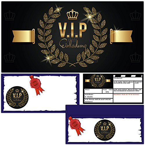 V.I.P. EINLADUNG Set (12 Karten inklusive passende Umschläge) Premium Einladungskarten edel in Schwarz & Gold ideal für VIP Party, Event, Einweihung, Geburtstag für Jungen, Mädchen und Erwachsene