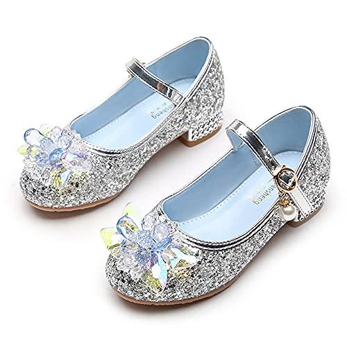 Eleasica Zapato de Lentejuelas Azul con Adorno de Cristal de tacón bajo...