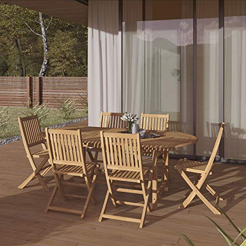 Fine Line Essence Collection GR01411LVB2048T 11 Piece Outdoor Dining Set with Cosmopolitan Teak Extension Table  Teak Wood Armrest  Umbrella Hole