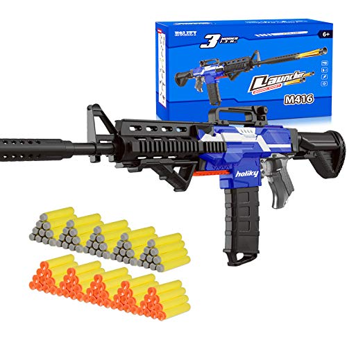 Holiky DIY Electric Automatic Toy Guns for Nerf Guns Bullets, 3 Modes Burst Soft Blaster Toys for Boys, Foam Bullet Hand Gun with 100 Pcs Refill Darts, Multi-Player Game for Kids