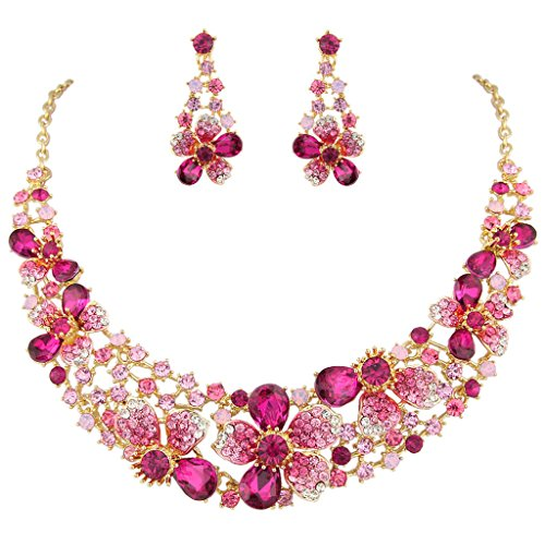 EVER FAITH Gold-Tone Austrian Crystal Hibiscus Flower Necklace Earrings Set Pink