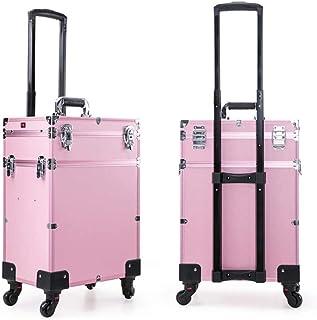 WSJTT. حقيبة قطار متدحرجة 3 في 1 حقيبة محمولة لمستحضرات التجميل لتنظيم مستحضرات التجميل حقيبة سفر حقيبة عربة (اللون: وردي)