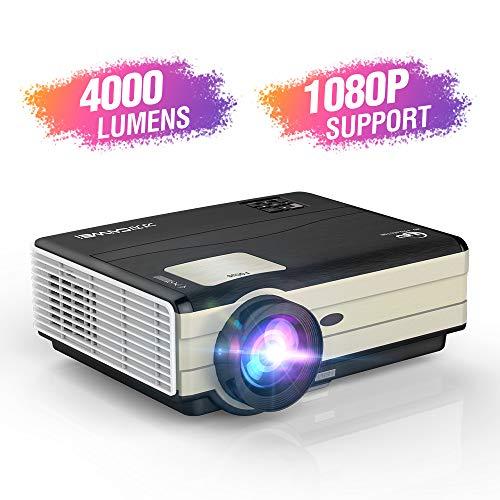Proyector de video LCD LED de 4200 lúmenes Proyección de techo trasero con zoom Soporte Keystone Flip 1080P Compatible con USB / HD / Sd / AV / VGA / HDMI / 3.5mm Audio para cine