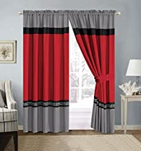 GrandLinen 4 Piece Red/Grey/Black/White Scroll Embroidery Microfiber Curtain Set 108 inch Wide X 84 inch Long (2 Window Panels, 2 Ties)