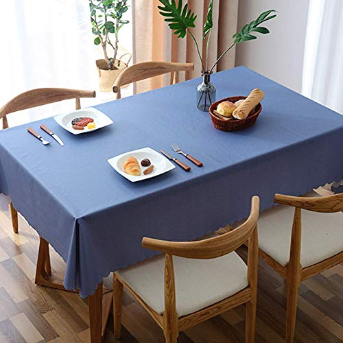L&T PVC Impermeable Mantel Color Solido, Rectangular Lavables Manteles Clip De Dinero A Prueba De Aceite Comedor Mesa De Cafe Exterior Casa-Azul 90x130cm(35x51inch)