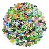 WAYBER 1 Lb/460g Colorful Pebbles Decorative Crystal Stones Sea Glass Opal Rocks Gravel Sand for Aquarium/Turtle Tank/Succulent Plants/Flowerpot/Vase Decoration (Fill 1 Cup)