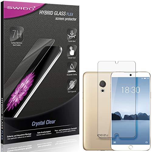 SWIDO Panzerglas Schutzfolie kompatibel mit Meizu M15 Bildschirmschutz-Folie & Glas = biegsames HYBRIDGLAS, splitterfrei, Anti-Fingerprint KLAR - HD-Clear