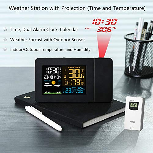 OurLeeme Funkwetterstation Große LCD Digital Bunte Anzeige Indoor Outdoor Prognose Sensor Home Hygrometer Thermometer Projektion Wetterstation