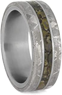 Jewelry By Johan Mens Fossil Ring with Gibeon Meteorite Edges, Titanium Wedding Band