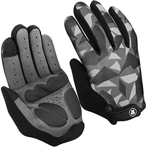 Mountain Bike Gloves for Men Women - Cycling Gloves Men Touchscreen - Full-Palm Protection - Bicycle Gloves Men - Longwearing - Workout Gloves Full Finger - Sport Gloves