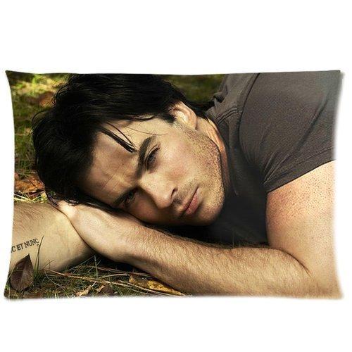 Federe rettangolari di The Vampire Diaries con foto di Damon Salvatore, Ian Somerhalder, stampa su entrambi i lati, 20 x 30 cm (personalizzabile)