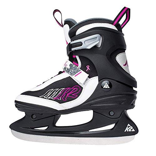 K2 Erwachsenen Schlittschuhe Ascent Ice Skates Damen The Original SoftBoot Größe US 7 EURO 37 UK 4.5 CM 24 Schwarz/Weiss/Pink/Grau