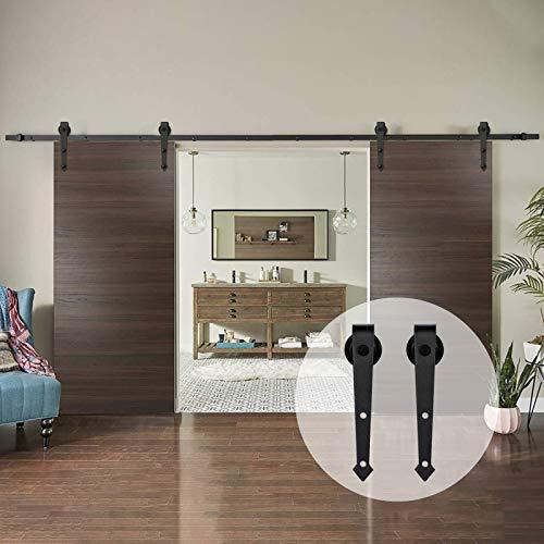 AMC Funiture - Kit de herrajes para puerta corredera de madera de granero de 5 pies suave y silencioso, fácil de instalar para puertas dobles (5 pies)