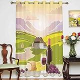 Cortinas opacas anchas con diseño de queso y pan con paisaje de montaña en zonas rurales francesas, cortinas estampadas, panel individual de 160 x 183 cm, para puerta corredera verde