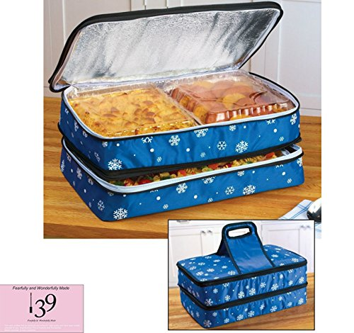 Celebrity Picnic Travel Holiday Food Storage Insulated Carrier Expandable keeps your Food Dishes Hot or Cold or Both