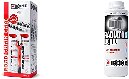 Ipone IP800736 Pack Entretien Moto Route Care Cleaner X-TREM Road 750 ML + Une Brosse de chaîne & Liquide de Refroidi...