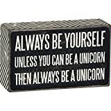 Primitives by Kathy Chevron Trimmed Box Sign, 3' x 5', Be A Unicorn